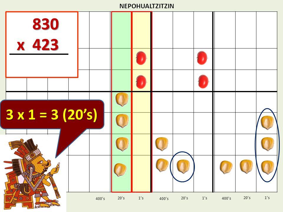 830 x 423 3 x 1 = 3 (20's) NEPOHUALTZITZIN 1's 1's 400's 400's 20's