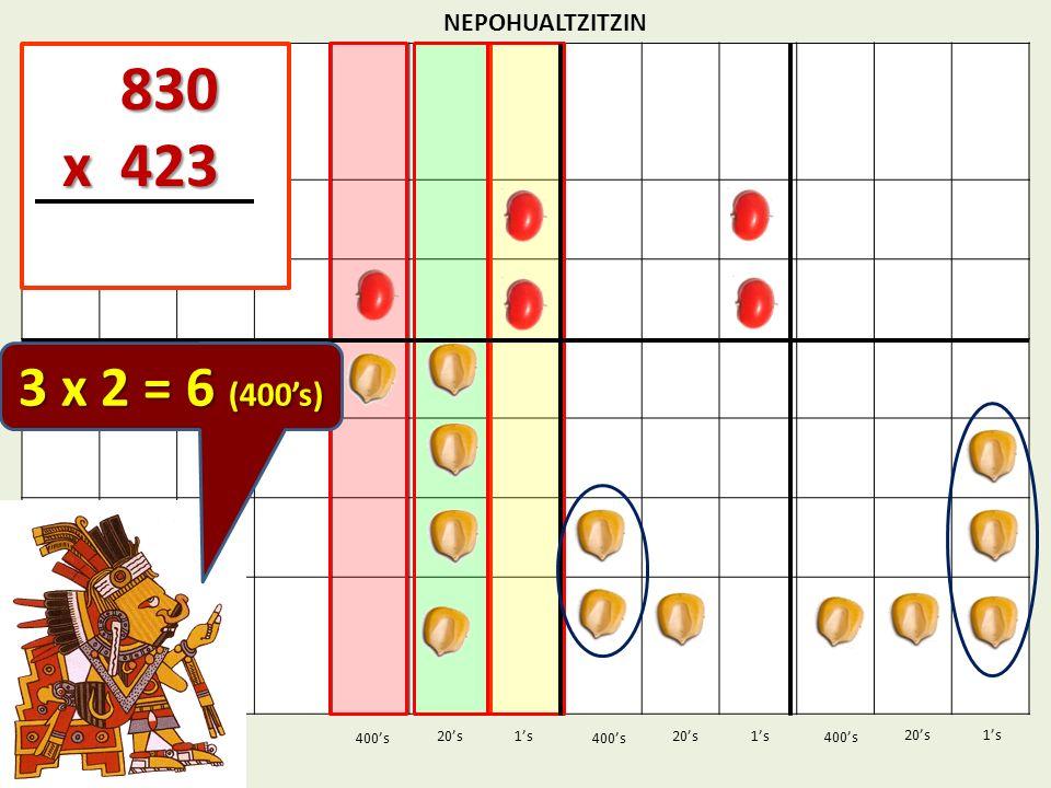 830 x 423 3 x 2 = 6 (400's) NEPOHUALTZITZIN 1's 1's 400's 400's 20's