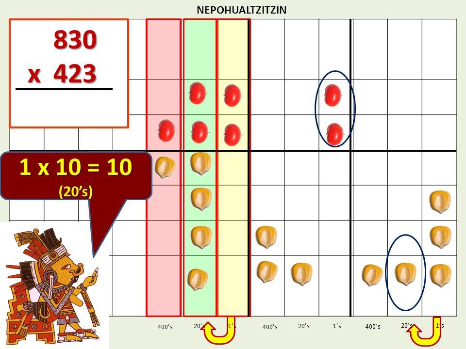 830 x 423 1 x 10 = 10 (20's) NEPOHUALTZITZIN 1's 1's 400's 400's 20's