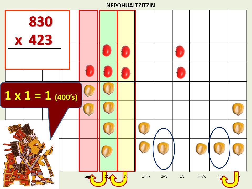 830 x 423 1 x 1 = 1 (400's) NEPOHUALTZITZIN 1's 1's 400's 400's 20's