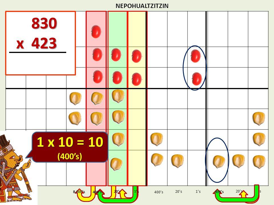 830 x 423 1 x 10 = 10 (400's) NEPOHUALTZITZIN 1's 1's 400's 8,000's