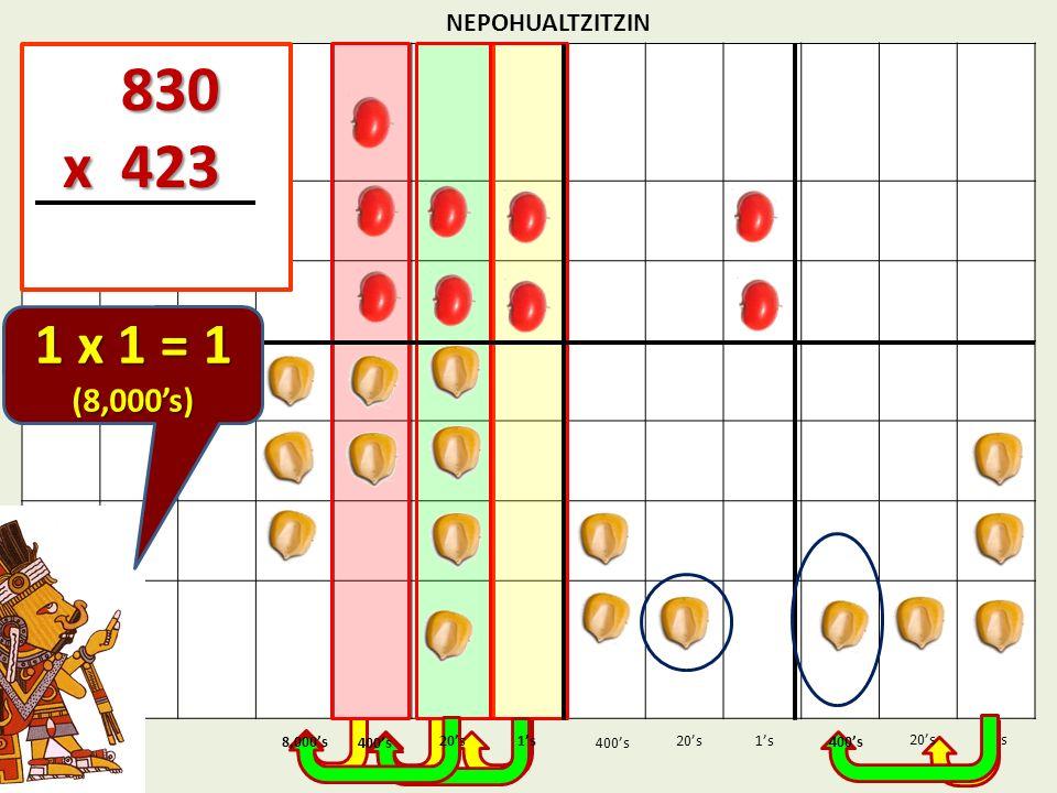 830 x 423 1 x 1 = 1 (8,000's) NEPOHUALTZITZIN 1's 1's 400's 8,000's