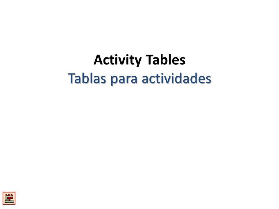 Activity Tables Tablas para actividades