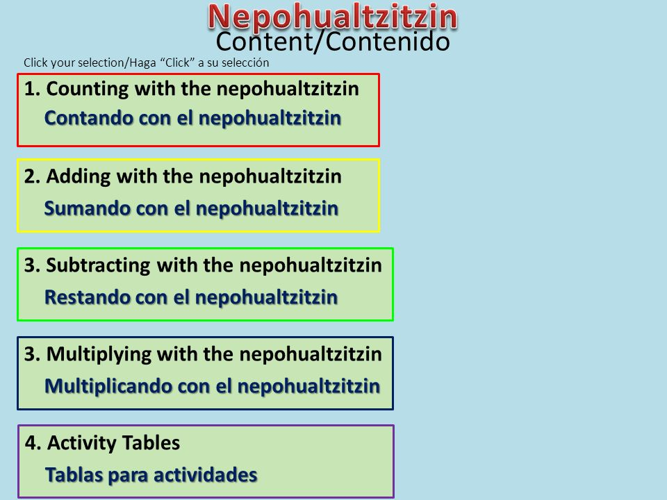 Nepohualtzitzin Content/Contenido 1. Counting with the nepohualtzitzin