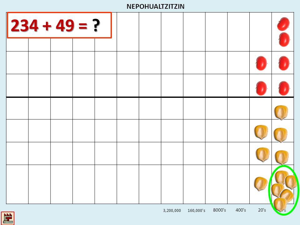 NEPOHUALTZITZIN 234 + 49 = 3,200,000 160,000's 8000's 400's 20's 1's