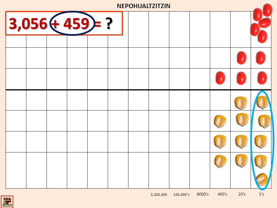 3,056 + 459 = NEPOHUALTZITZIN 8000's 400's 20's 1's 3,200,000