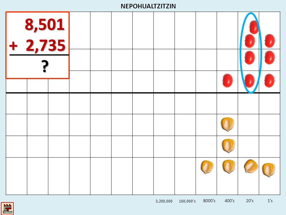8,501 + 2,735 NEPOHUALTZITZIN 8000's 400's 20's 1's 3,200,000