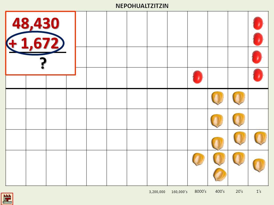48,430 + 1,672 NEPOHUALTZITZIN 8000's 400's 20's 1's 3,200,000