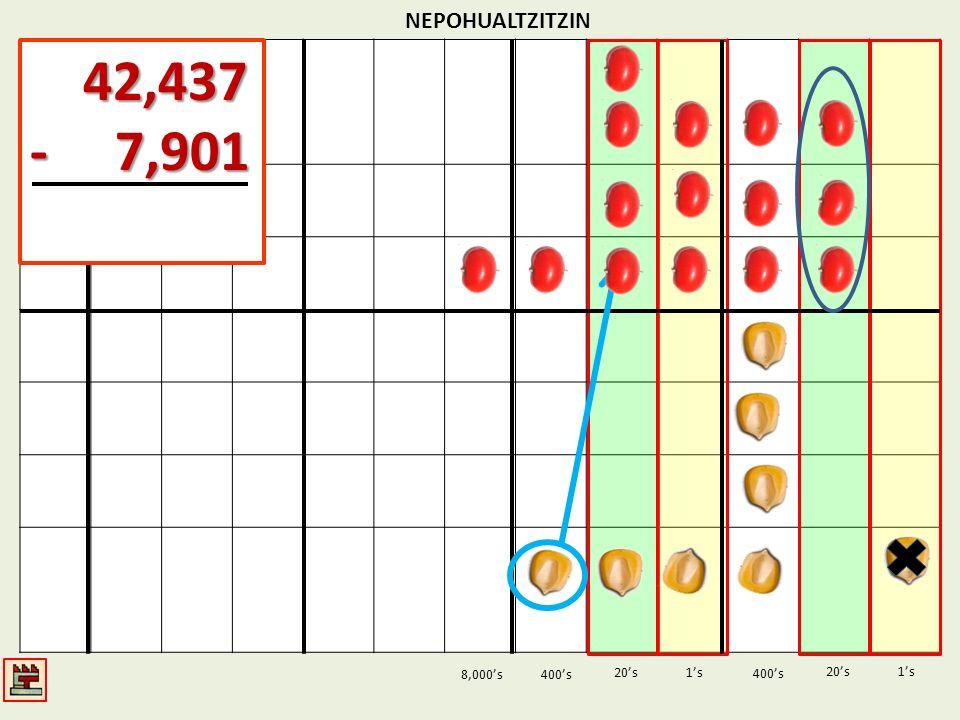 NEPOHUALTZITZIN 42,437 - 7,901 8,000's 400's 20's 1's 400's 20's 1's