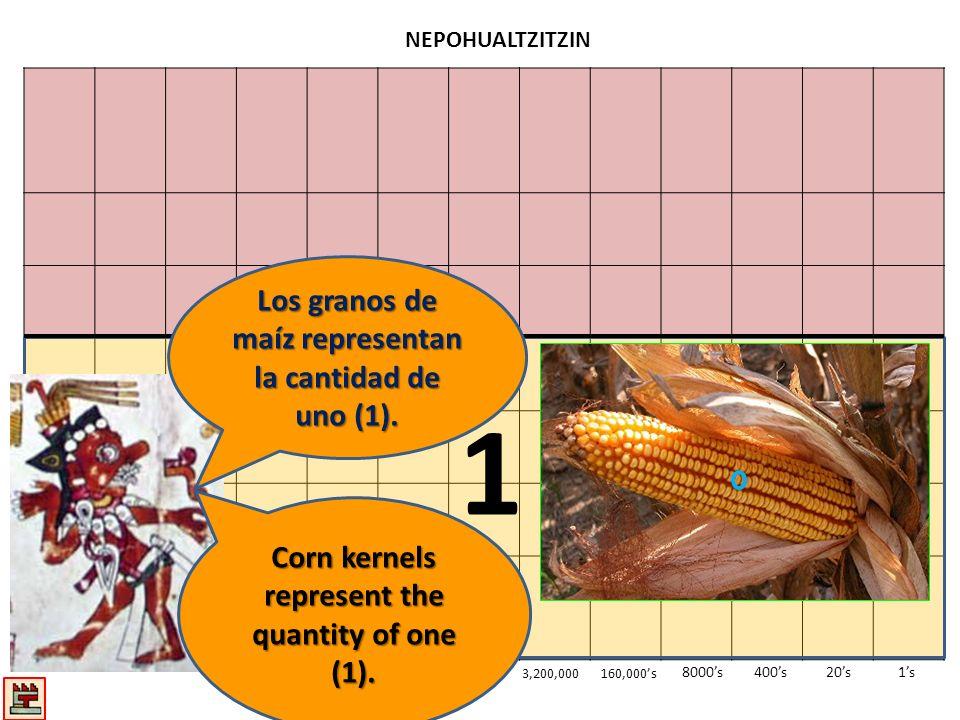 1 Los granos de maíz representan la cantidad de uno (1).