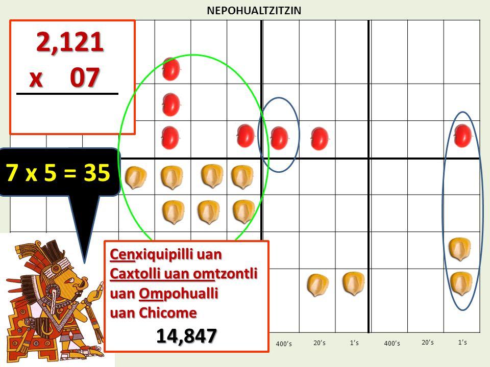 NEPOHUALTZITZIN 2,121. x 07. 7 x 5 = 35. Cenxiquipilli uan Caxtolli uan omtzontli uan Ompohualli.