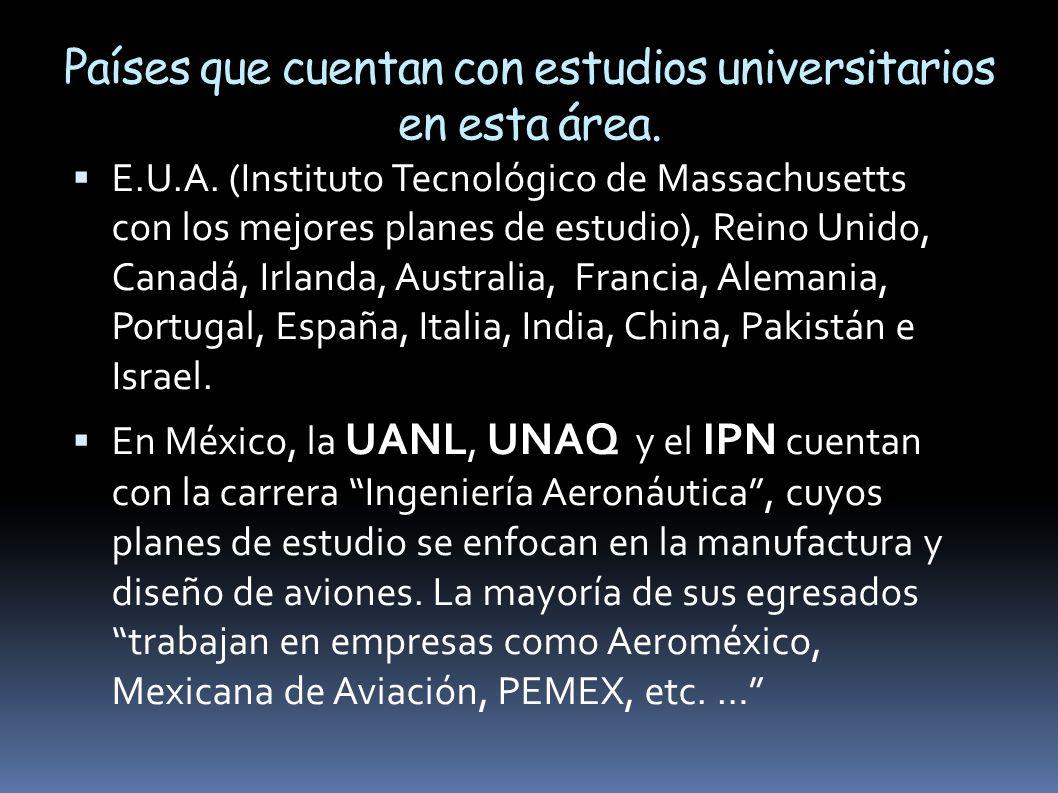 Países que cuentan con estudios universitarios en esta área.