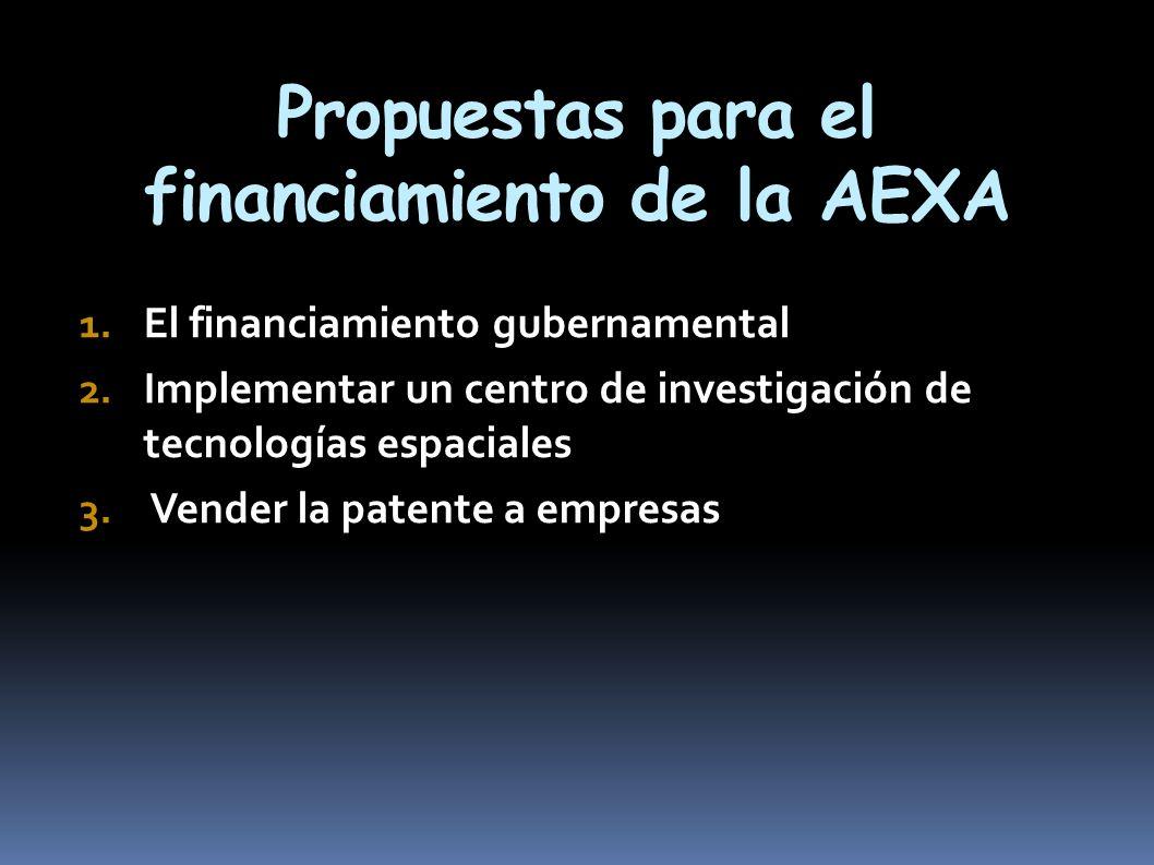 Propuestas para el financiamiento de la AEXA