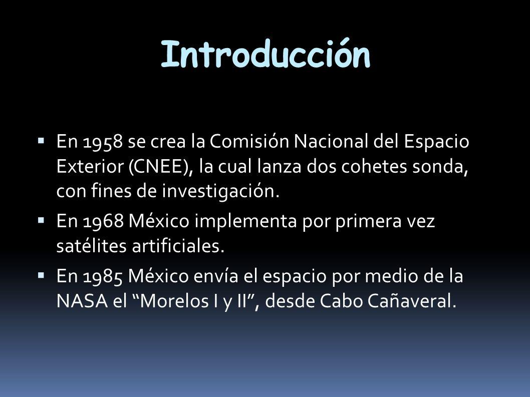 Introducción En 1958 se crea la Comisión Nacional del Espacio Exterior (CNEE), la cual lanza dos cohetes sonda, con fines de investigación.