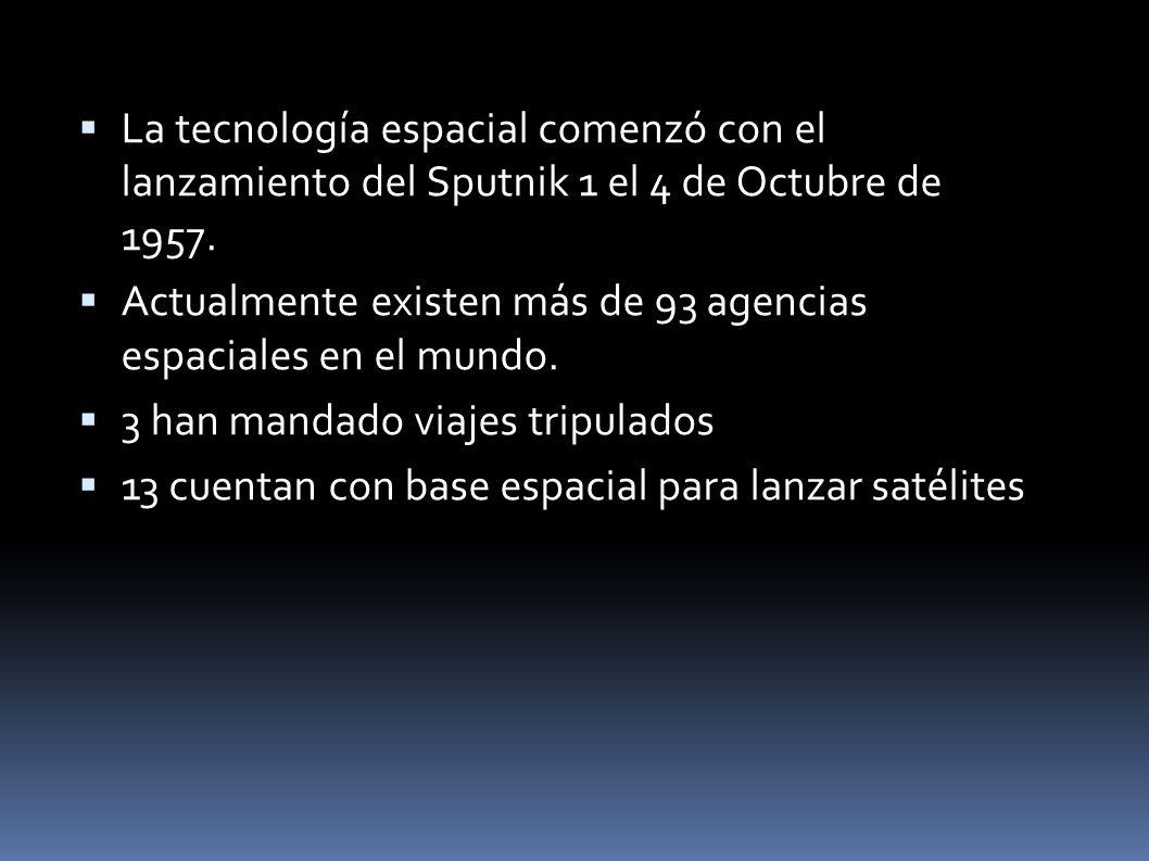 La tecnología espacial comenzó con el lanzamiento del Sputnik 1 el 4 de Octubre de 1957.