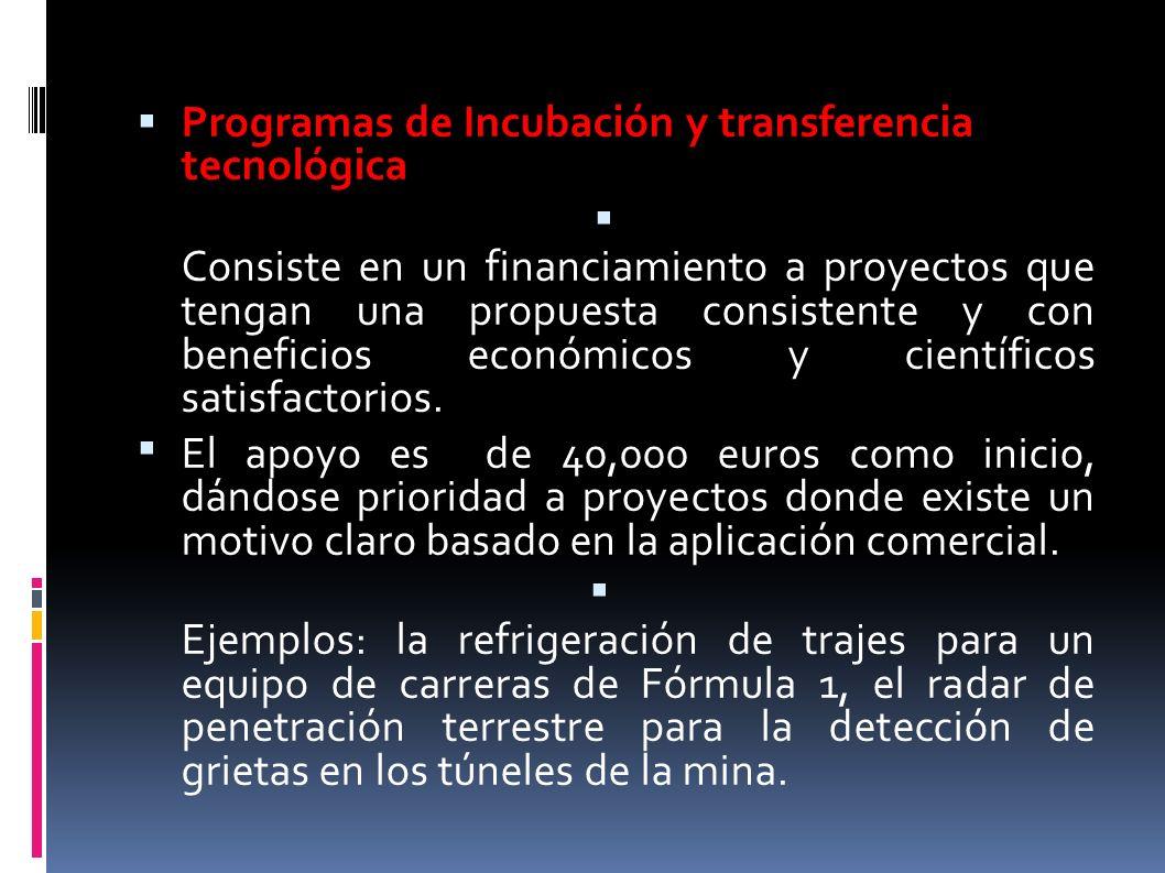 Programas de Incubación y transferencia tecnológica