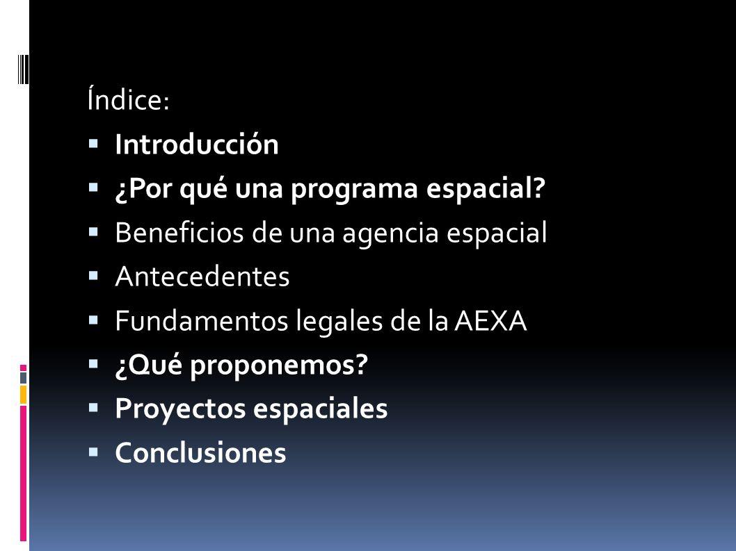 Índice: Introducción. ¿Por qué una programa espacial Beneficios de una agencia espacial. Antecedentes.