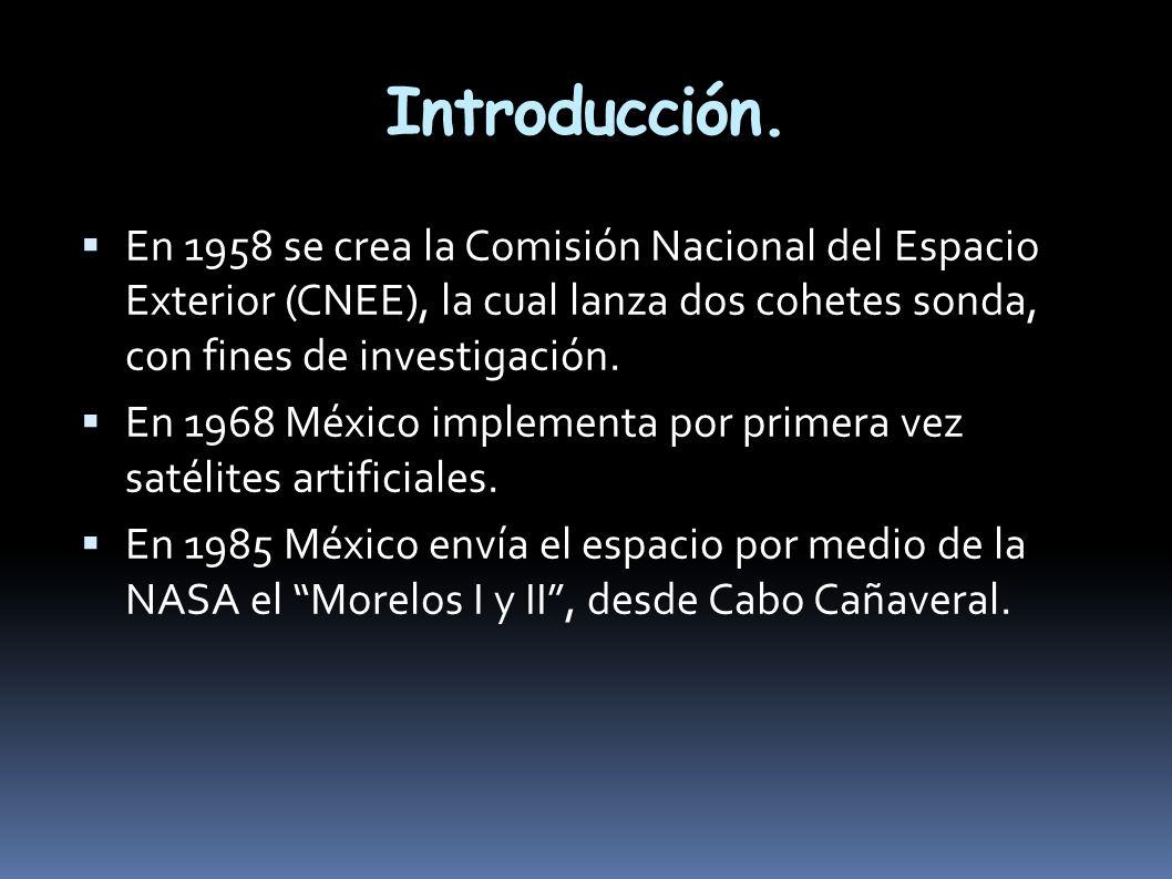 Introducción. En 1958 se crea la Comisión Nacional del Espacio Exterior (CNEE), la cual lanza dos cohetes sonda, con fines de investigación.