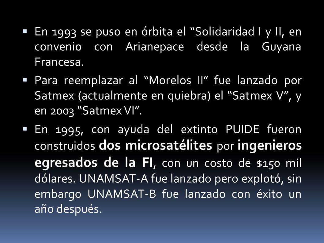 En 1993 se puso en órbita el Solidaridad I y II, en convenio con Arianepace desde la Guyana Francesa.