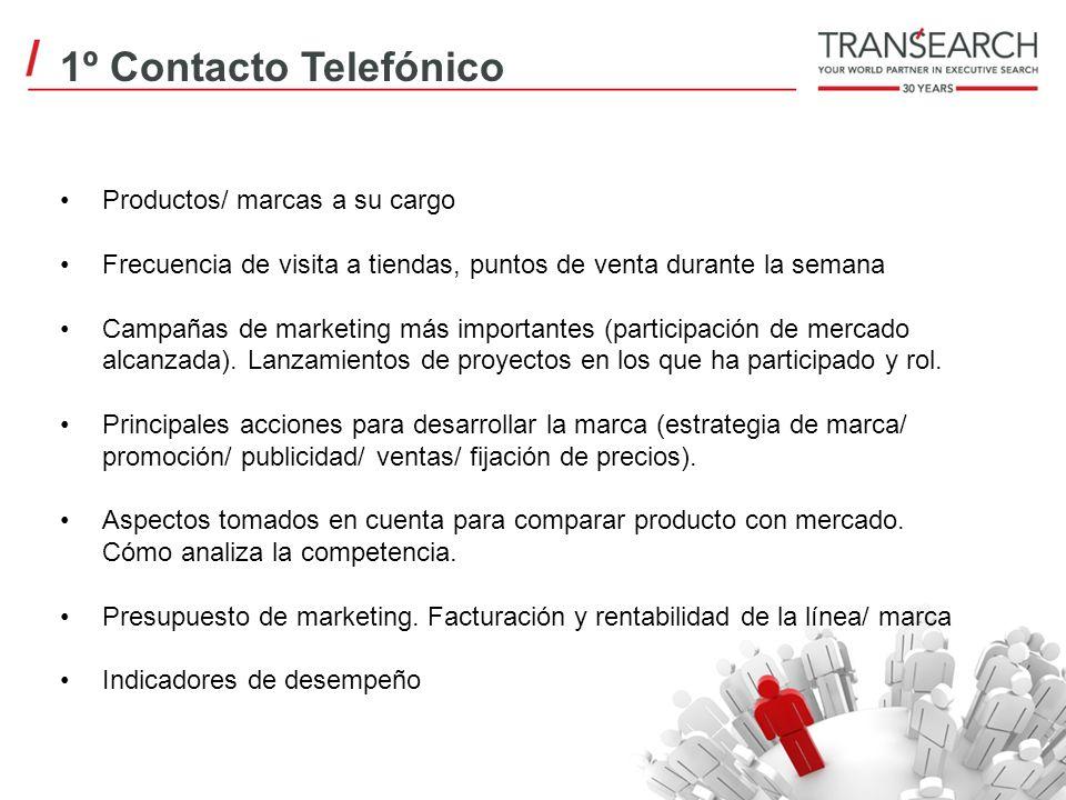1º Contacto Telefónico Productos/ marcas a su cargo