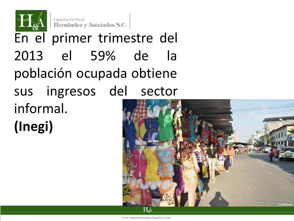 En el primer trimestre del 2013 el 59% de la población ocupada obtiene sus ingresos del sector informal.