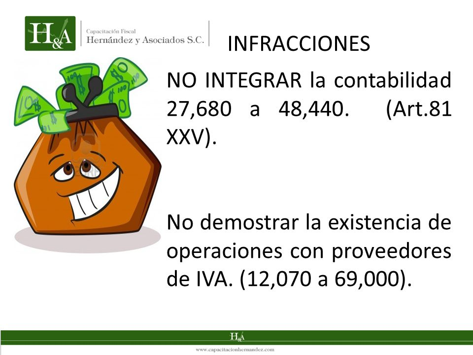 INFRACCIONES NO INTEGRAR la contabilidad 27,680 a 48,440. (Art.81 XXV).