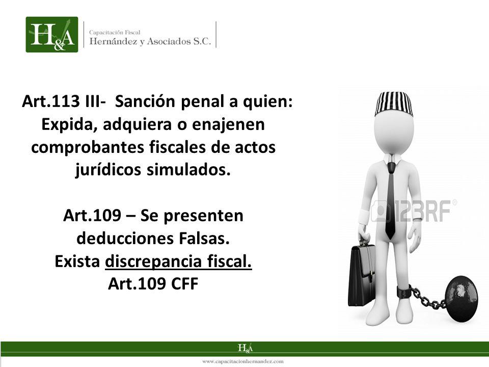 Art.109 – Se presenten deducciones Falsas. Exista discrepancia fiscal.