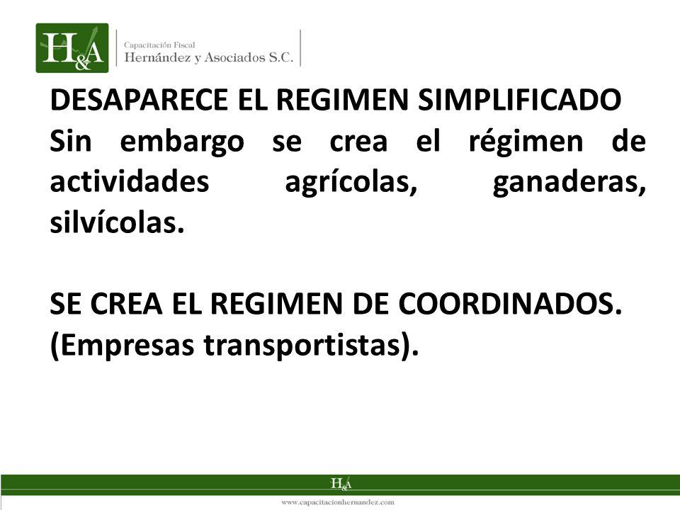 DESAPARECE EL REGIMEN SIMPLIFICADO