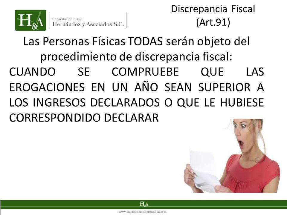 Discrepancia Fiscal (Art.91) Las Personas Físicas TODAS serán objeto del procedimiento de discrepancia fiscal:
