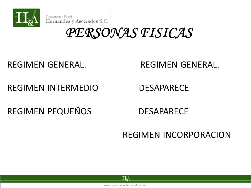 PERSONAS FISICAS REGIMEN GENERAL. REGIMEN GENERAL.