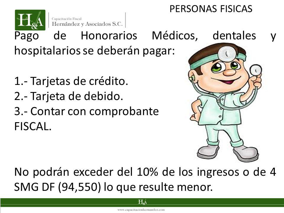 Pago de Honorarios Médicos, dentales y hospitalarios se deberán pagar: