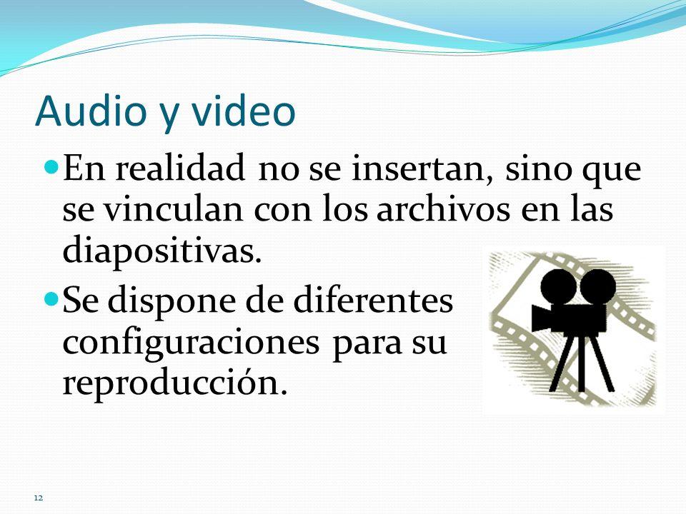 Audio y video En realidad no se insertan, sino que se vinculan con los archivos en las diapositivas.