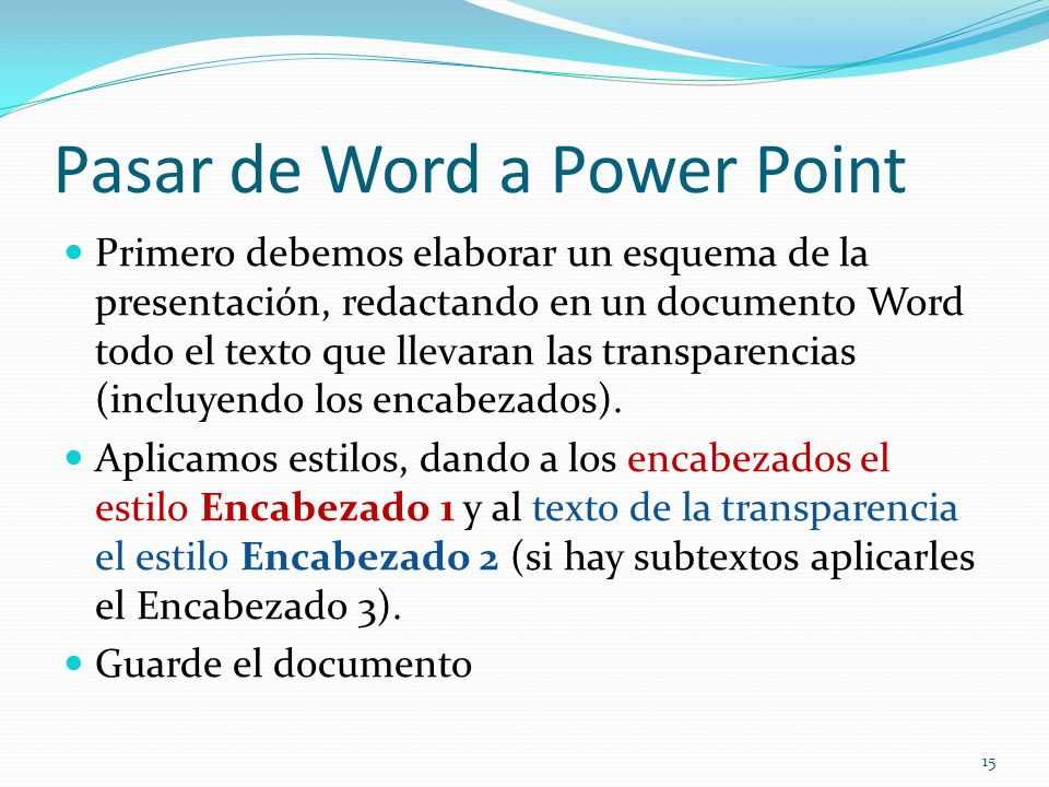 Pasar de Word a Power Point