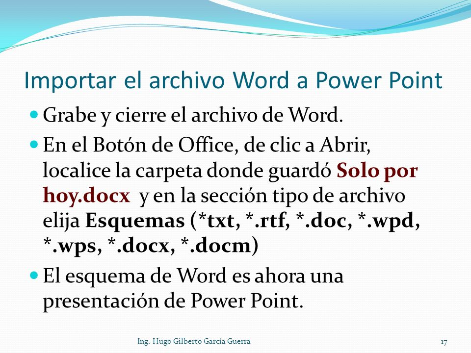 Importar el archivo Word a Power Point