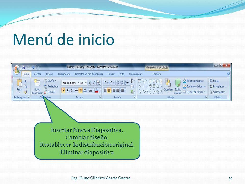 Menú de inicio Insertar Nueva Diapositiva, Cambiar diseño, Restablecer la distribución original, Eliminar diapositiva.
