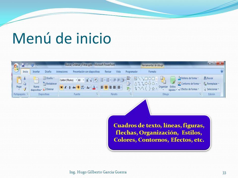 Menú de inicio Cuadros de texto, líneas, figuras, flechas, Organización, Estilos, Colores, Contornos, Efectos, etc.