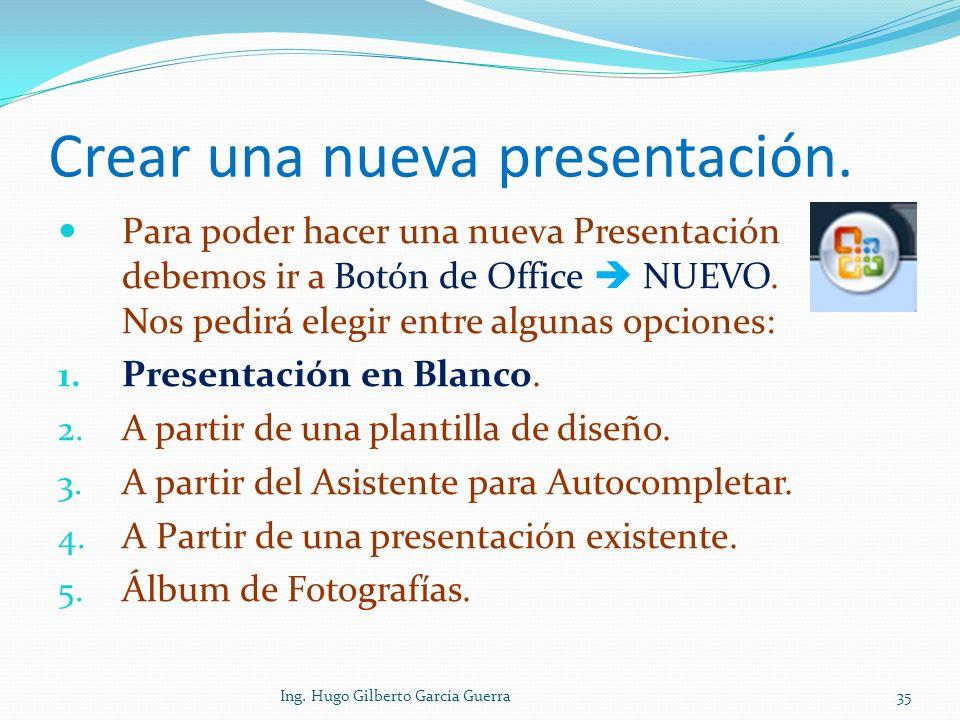 Crear una nueva presentación.