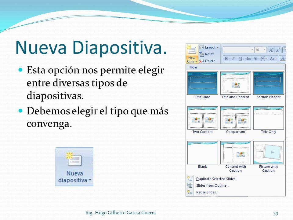 Nueva Diapositiva. Esta opción nos permite elegir entre diversas tipos de diapositivas. Debemos elegir el tipo que más convenga.