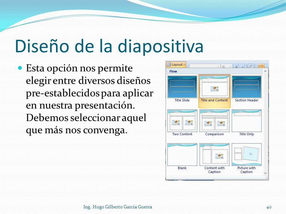 Diseño de la diapositiva
