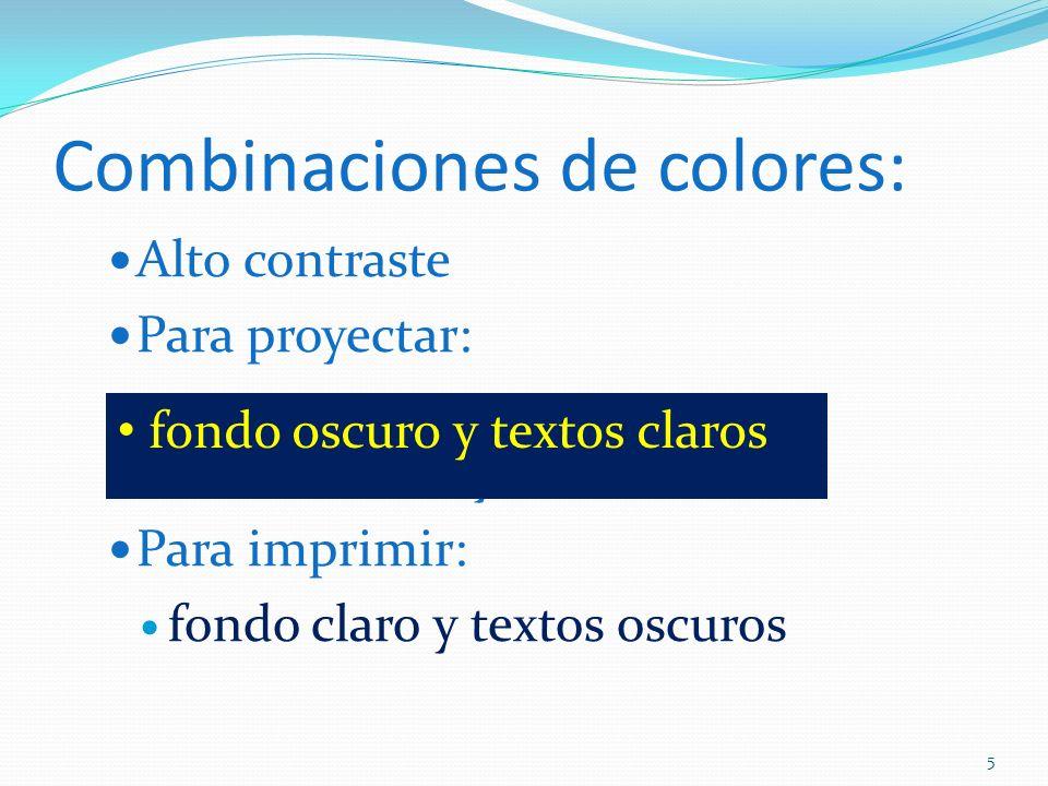 Combinaciones de colores: