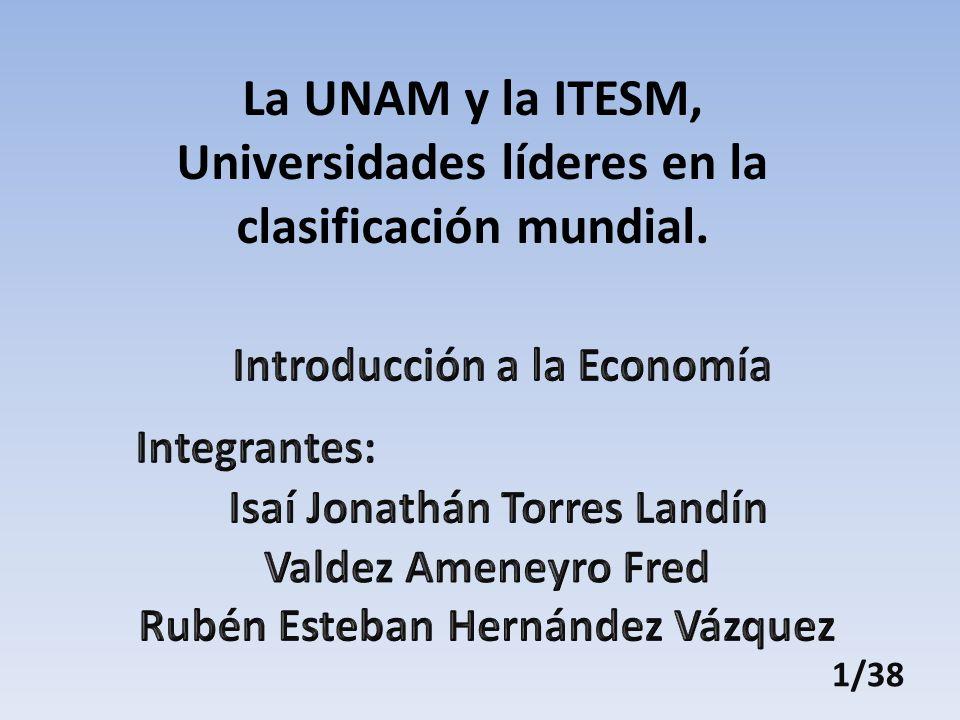 La UNAM y la ITESM, Universidades líderes en la clasificación mundial.