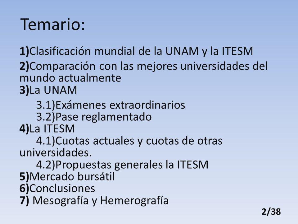 Temario: 1)Clasificación mundial de la UNAM y la ITESM