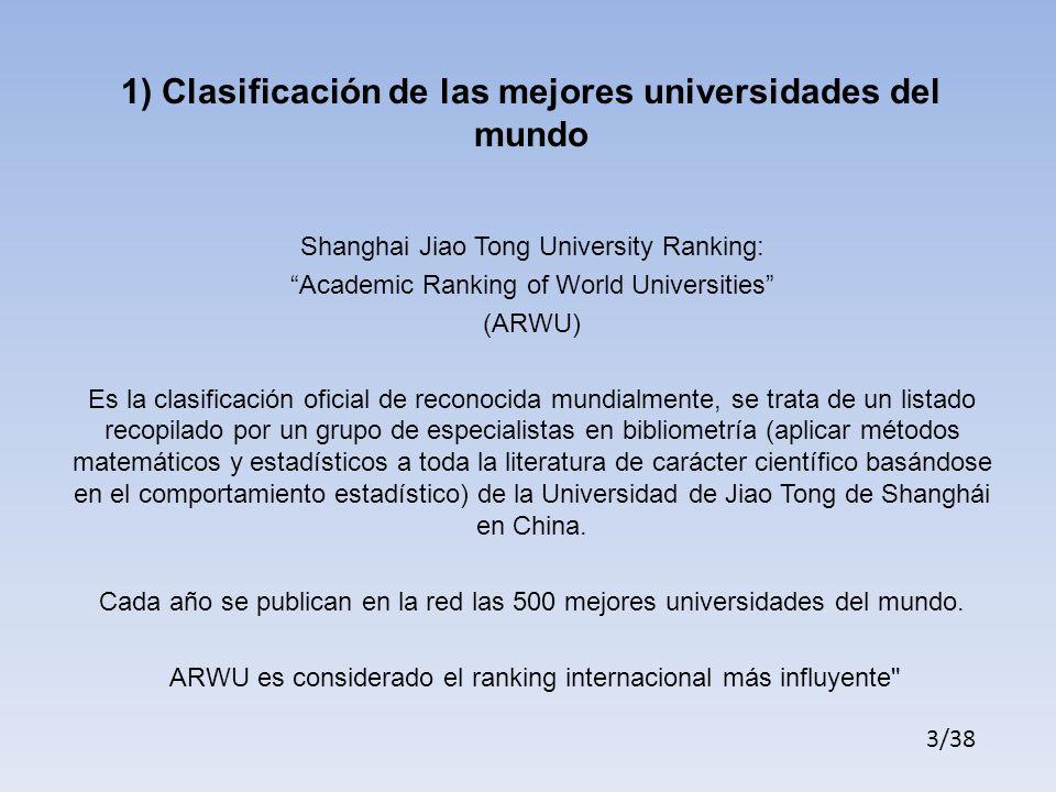 1) Clasificación de las mejores universidades del mundo
