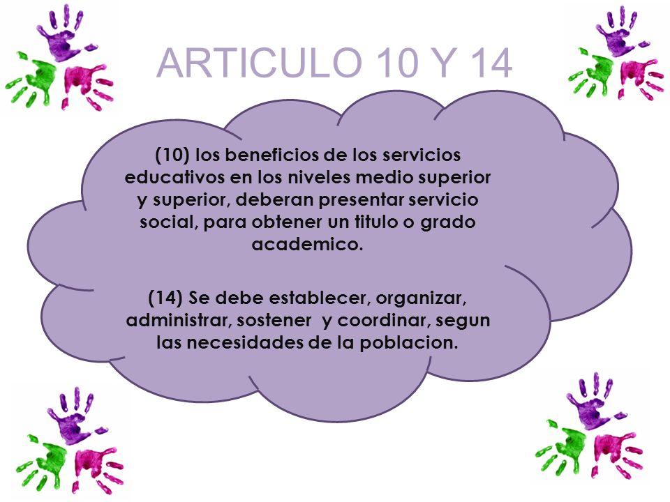 ARTICULO 10 Y 14
