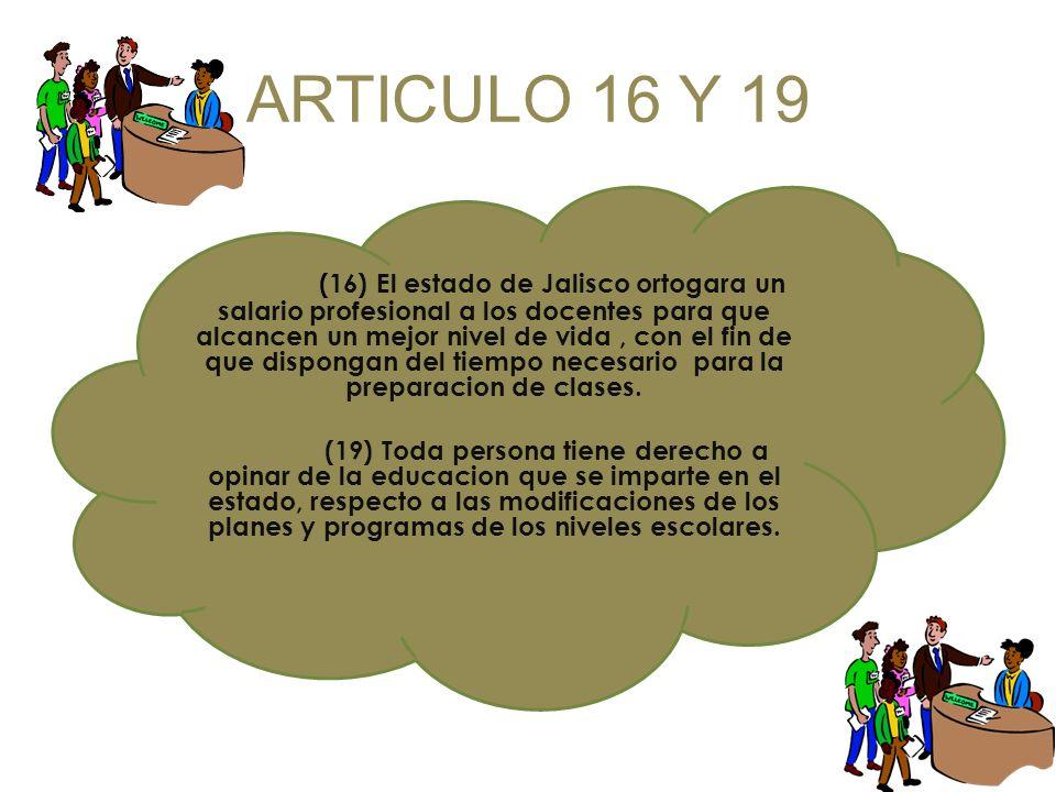 ARTICULO 16 Y 19