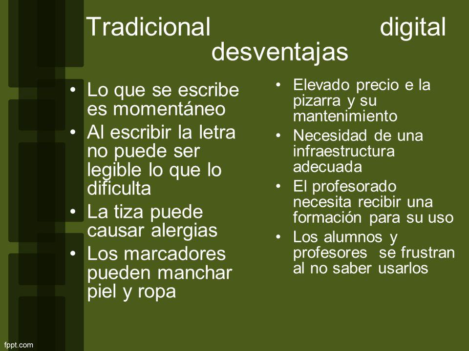Tradicional digital desventajas