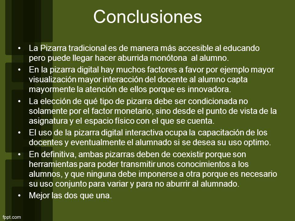 Conclusiones La Pizarra tradicional es de manera más accesible al educando pero puede llegar hacer aburrida monótona al alumno.