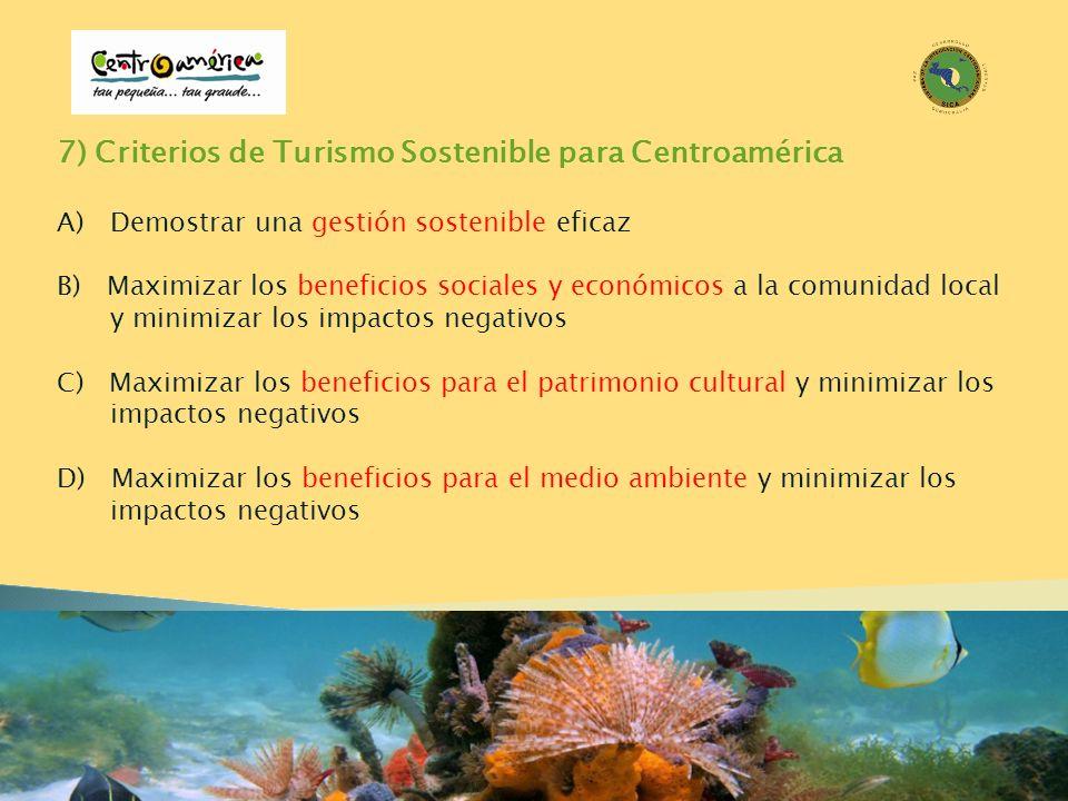 7) Criterios de Turismo Sostenible para Centroamérica