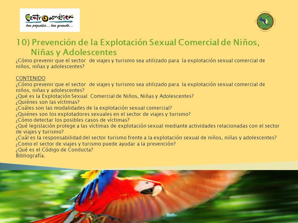 10) Prevención de la Explotación Sexual Comercial de Niños, Niñas y Adolescentes