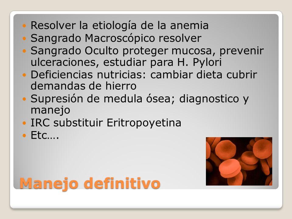Manejo definitivo Resolver la etiología de la anemia